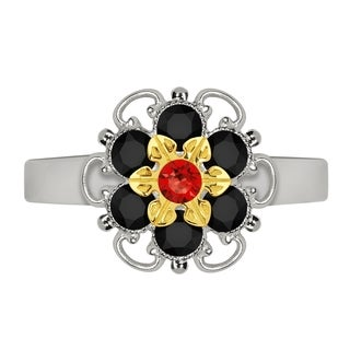 Lucia Costin Yellow Goldplated Sterling Silver Red/ Black Crystal Adjustable Ring