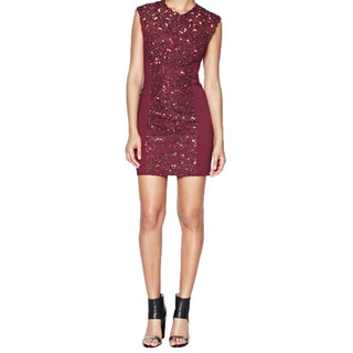 French Connection Women's Red Lace Beaded Sleeveless Sheath