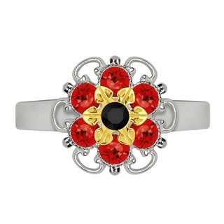 Lucia Costin Yellow Goldplated Sterling Silver Black/ Red Crystal Flower Ring