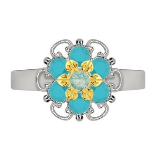 Lucia Costin Yellow Goldplated Sterling Silver Mint Blue/ Turquoise Crystal Dot Ring