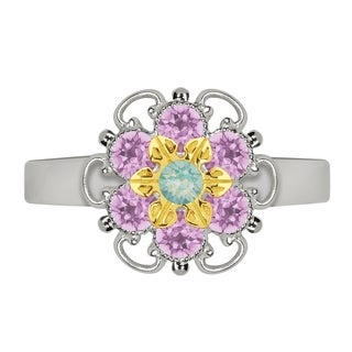 Lucia Costin Yellow Goldplated Sterling Silver Mint Blue/ Lilac Crystal Flower Ring