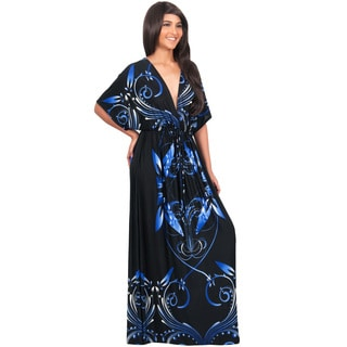 Koh Koh Women's Kimono Sleeve V-Neck Print Long Maxi Dress