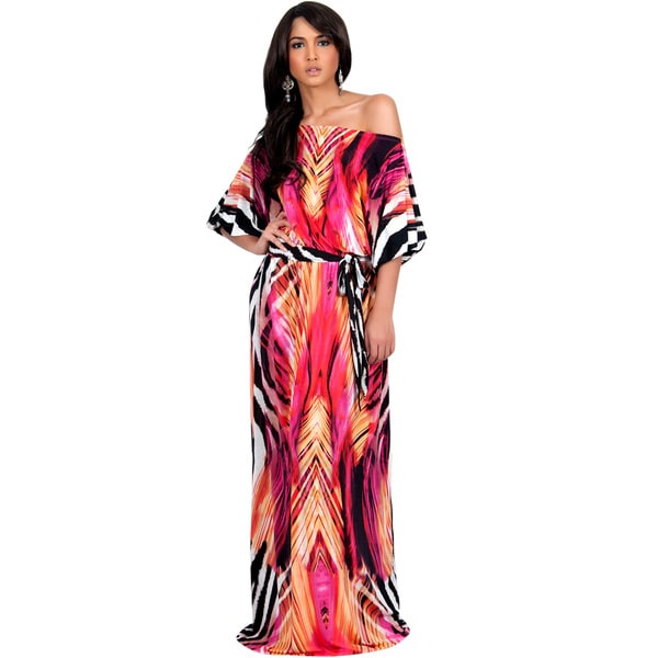 Koh Koh Women's Off the Shoulder Graphic Print Maxi Dress