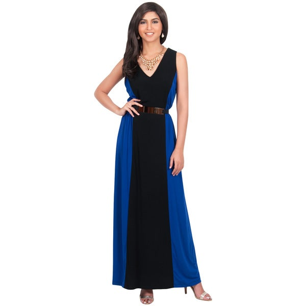 Koh Koh Women's Sleeveless Two-Toned Maxi Dress