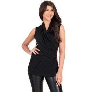 KOH KOH Womens Designer Cross Over Sleeveless Modern Chic Top Blouse