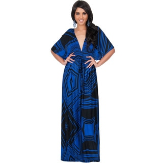 Koh Koh Women's Graphic Print Kimono Sleeve Cocktail Maxi Dress
