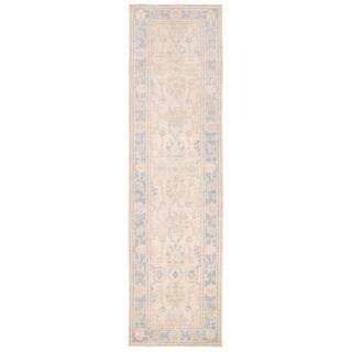Herat Oriental Afghan Hand-knotted Vegetable Dye Oushak Ivory/ Light Blue Wool Rug (2'7 x 9'9)