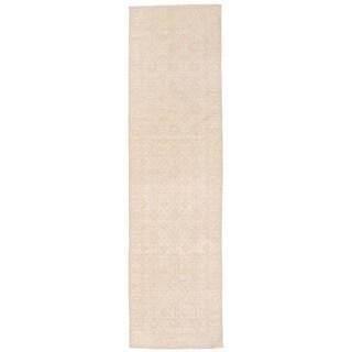 Herat Oriental Afghan Hand-knotted Vegetable Dye Oushak Ivory/ Beige Wool Rug (2'8 x 9'10)