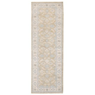 Herat Oriental Afghan Hand-knotted Vegetable Dye Oushak Gold/ Ivory Wool Rug (2'8 x 7'8)