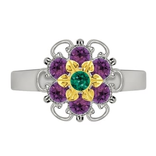Lucia Costin Yellow Goldplated Sterling Silver Green/ Violet Crystal Center Flower Ring