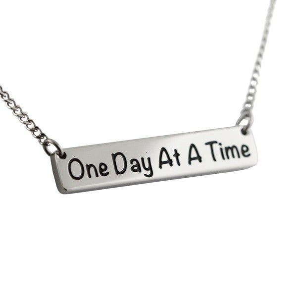 Stainless Steel One Day At A Time Pendant Necklace
