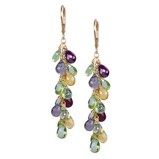 14k Yellow Gold Peridot, Citrine, Garnet, and Smoky Topaz Earrings