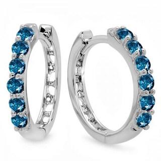 14k White Gold 1/3ct TDW Blue Diamond Leverback Hoop Earrings (I2-I3)