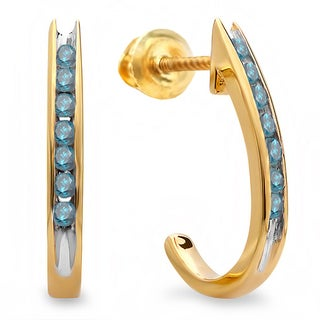 10k Yellow Gold 1/4ct TDW Round Blue Diamond Fancy J Hoop Earrings (I2-I3)