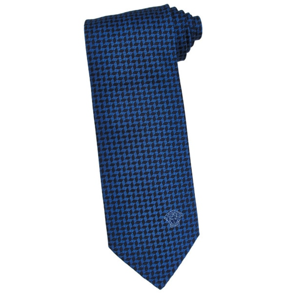 Versace 100-percent Italian Silk Blue/ Black Herringbone Neck Tie