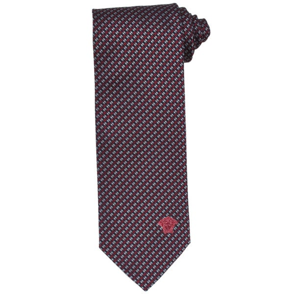 Versace 100-percent Italian Silk Red/ Grey Criss-cross Neck Tie