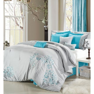 Chic Home Petunia Embroidered Grey 8-Piece Comforter Set