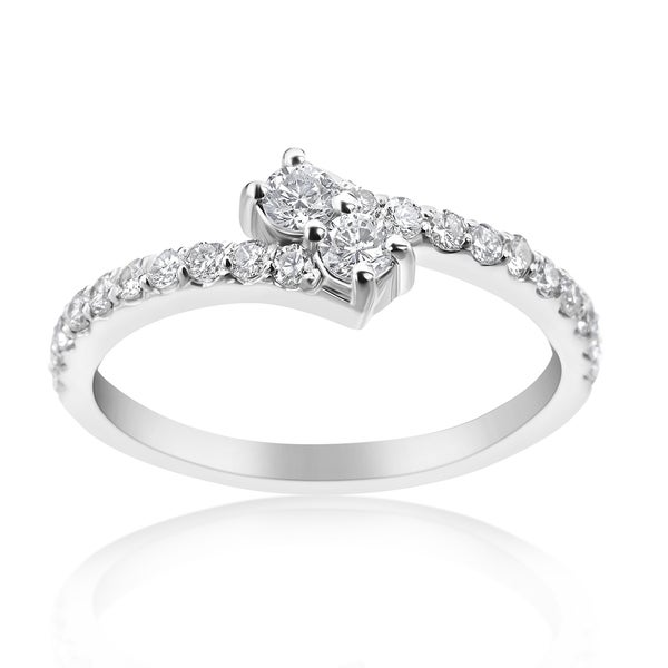 SummerRose 14k White Gold 1/2ct TDW Diamond 'Forever 2' Double Stone Ring (H-I, SI1-SI2)