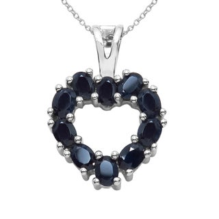 Sterling Silver 2 5/8ct TGW Blue Sapphire Pendant