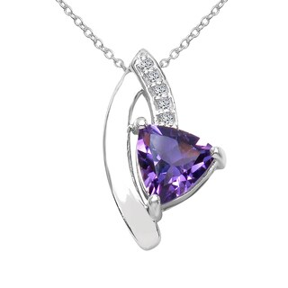 Sterling Silver 3/4ct TGW Amethyst and White Topaz Pendant