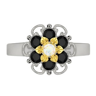 Lucia Costin Yellow Goldplated Sterling Silver White/ Black Crystal Flower Ring
