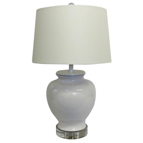White Chic Porcelain Lamp White shade Crystal Base 16953075