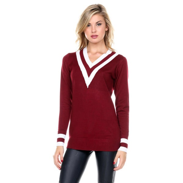 Stanzino Women's Knit Varsity Long-Sleeve Sweater