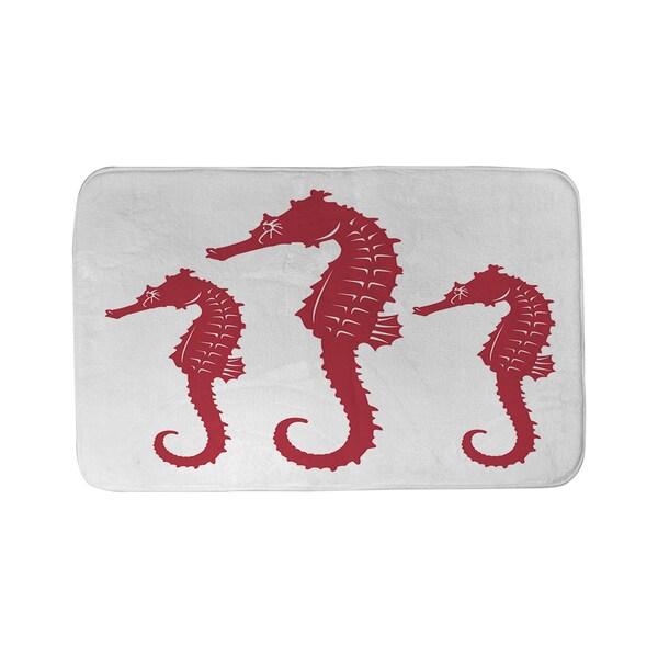 Thumbprintz Nautical Nonsense Red White Seahorses Bath Mat