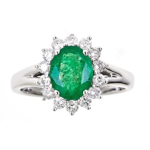 Anika and August 18K White Gold Oval-cut Emerald and Diamond Accent Ring