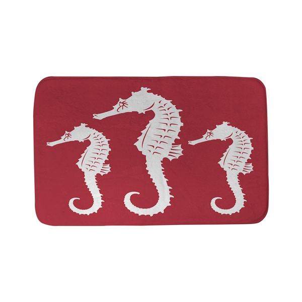 Thumbprintz Nautical Nonsense White Red Seahorses Bath Mat