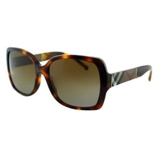 Burberry Women's BE 4160 3316T5 Light Havana Plastic Square Sunglasses