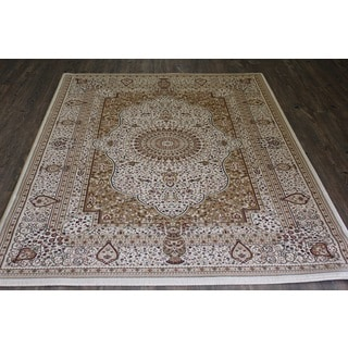 Beige Isfahan Persian Area Rug (5'3 x 7'5)