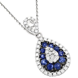 Luxurman 14k White Gold 1ct TDW Blue Sapphire and Diamond Drop Pendant (G-H, VS1-VS2)