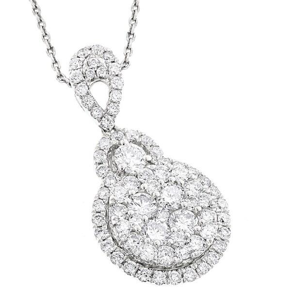 Luxurman 14k White Gold 1 3/4ct TDW Cluster Diamond Drop Pendant (G-H, VS1-VS2)