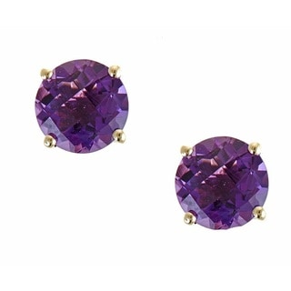 Anika and August 10k Yellow Gold Round-cut Amethyst Earrings