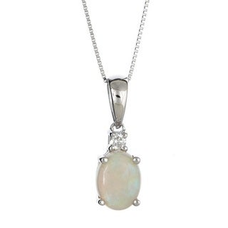 Anika and August 10k White Gold Oval-cut Australian Opal and Diamond Accent Pendant