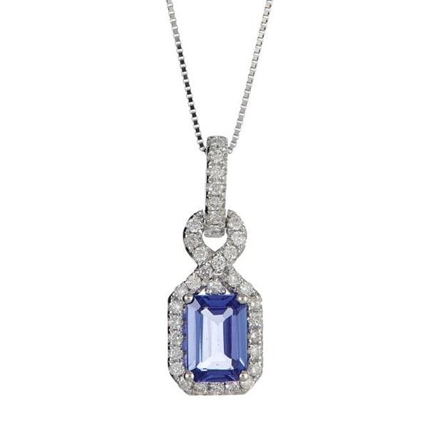 Anika and August 14k White Gold Emerald-cut Tanzanite and Diamond Accent Pendant