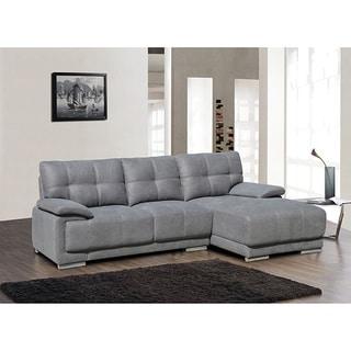 Angela dark brown 2 piece leather sectional sofa for Bella chaise dark brown