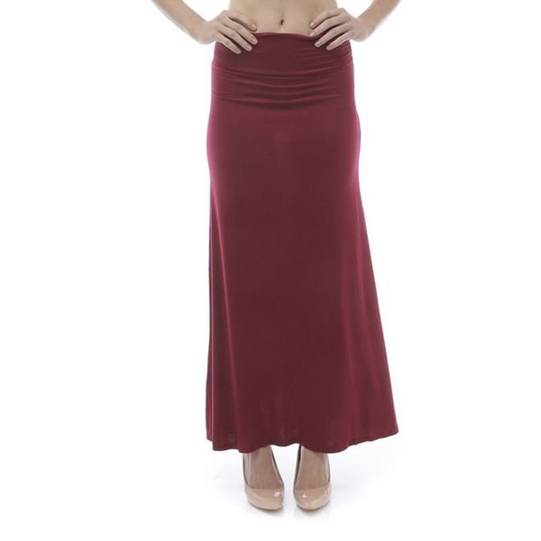 Soho Women Burgundy Solid Stretch Fitted Maxi Skirt