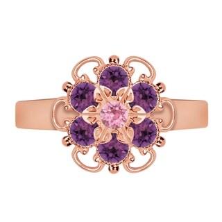 Lucia Costin Rose Goldplated Sterling Silver Violet/ Light Pink Crystal Adjustable Ring