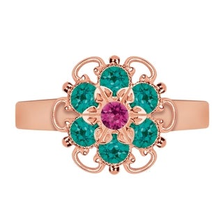 Lucia Costin Rose Goldplated Sterling Silver Fuchsia/ Turquoise-Green Crystal Dot Ring