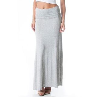 Soho Women Grey Comfort Causal Solid Stretch Fitted Maxi Long Skirt