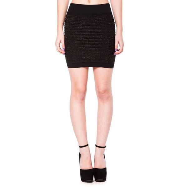 Soho Junior Horizontal Line Textured Gold Lurex Mini Skirt