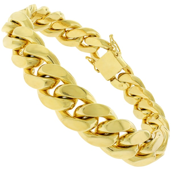 Goldplated Sterling Silver 15mm Solid Miami Cuban Link Bracelet