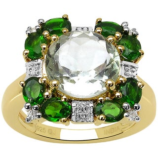 Malaika 14k Yellow Gold and Sterling Silver 5 2/5ct TGW Triple Gemstone Ring