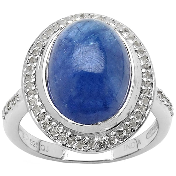 Malaika Sterling Silver 9ct TGW Tanzanite and White Topaz Ring