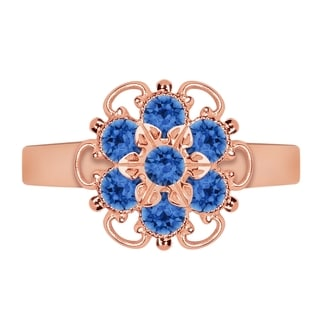 Lucia Costin Rose Goldplated Sterling Silver Blue Crystal Lovely Flower Ring