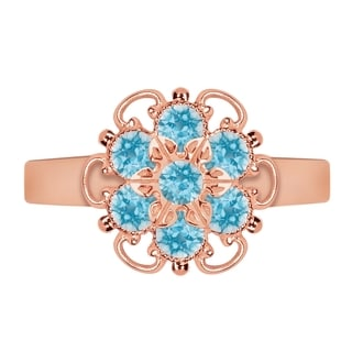 Lucia Costin Rose Goldplated Sterling Silver Light Blue Crystal Adjustable Ring