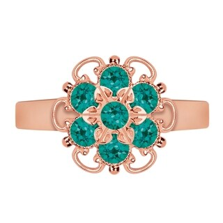 Lucia Costin Rose Goldplated Sterling Silver Turquoise-Green Crystal Ring