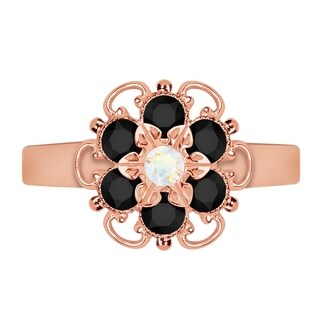 Lucia Costin Rose Goldplated Sterling Silver White/ Black Crystal Flower Ring